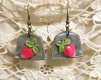 thimble strawberry earring assemblage recycle summer fruit