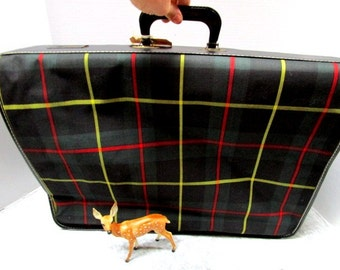Vintage Plaid Tartan Hanging GarmentBag, Luggage Canvas Travel Bag, Navy Green Red, Clothing Protector Scottish Fest Glamping Wedding Travel