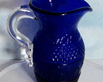 Vintage Cobalt Blue Glass Creamer with Applied Clear Glass Handle. Small Pitcher