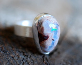 Dollybird Raw Rainbow Fire Opal Ring