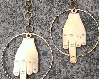 Middle finger raw brass earrings