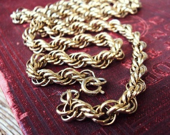 Vintage Link Chain Necklace Bail Bails Links Antique Gold Chunky Statement Chain Mod Modernist 1960s 60s Costume Jewelry