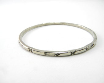 Native American sterling silver bangle bracelet hand stamped 925 silver, vintage stacking bangle, southwestern, country, boho,tribal