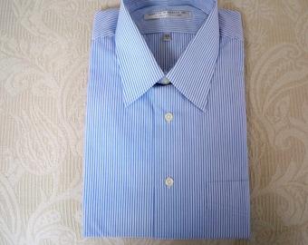 Vintage Clothing Men's Dress Shirt Short Sleeve Blue Stripe Shirt Size L Forsyth of Canada