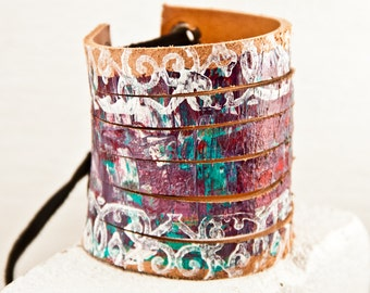 Festival Jewelry Wide Leather Cuff - Tattoo Cover Gift Ideas - Gypsy Boho Fashion - Painted Women's Bracelets