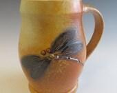 Salt Glazed Dark Blue Dragonfly Mug