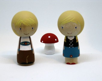 Hansel and Gretal Kokeshi Peg Doll Dolls
