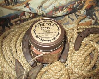 Chaps - (leather and fruit) 8 oz Square Mason Jar