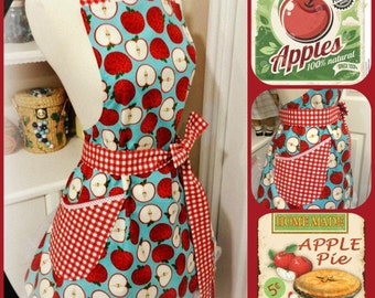 Handmade full woman's updated BBQ apron apples
