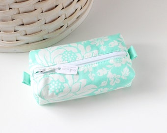 Small Boxy Pouch Bright Turquoise Floral Coin Purse Turquoise Change Purse Credit Card Holder