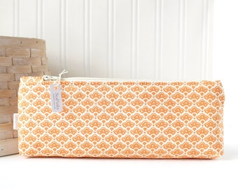 Orange Floral Pencil Case Floral Pencil Pouch Orange Purse Organizer