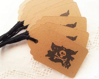 Pirate Birthday Tags Skull Flag Mini Kraft Favor Tags Party Supplies Set of 30