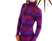 SALE 50% OFF Vintage 70s Turtleneck by Joseph Magnin Striped Long Sleeve Sweater Purple Fuschia Pink Heather Stripe Fitted Knit Blouse 1970s