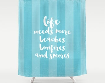 Aqua Stripe Beach Fabric Shower Curtain Typography Aqua Home Decor Teal Turquoise