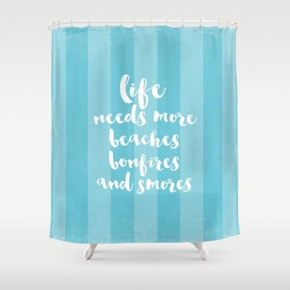 Aqua stripe Beach Fabric Shower Curtain, typography,aqua home decor,teal,turquoise,nautical,coastal bath decor