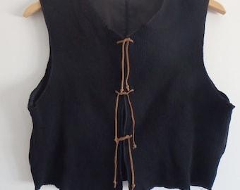 Black Vintage Top with Ties Corduroy