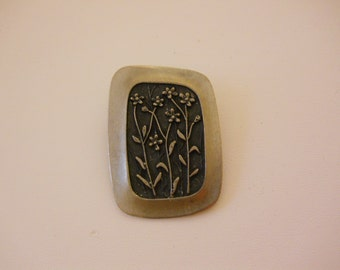 Vintage Rune Tennemed Flower Pin Pewter Mid century