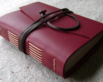 "Leather journal, 4"" x 6"", deep red, handmade journal by Dancing Grey Studio(1813)"