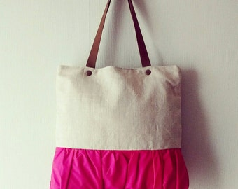 Linen Tote Bag, Natural linen Bag, Shoulder Bag, Women Bag, Linen Purse, Hot Pink Tote  - Delicada Tote Bag  in Natural Linen