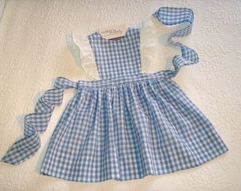 Size 12 months to size 5. Gingham Pinafore Jumper Dress with eyelet ruffles in color choice.  Made to Order.
