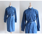 RESERVED Vintage 1990s Long Sleeve Denim Shirt Dress