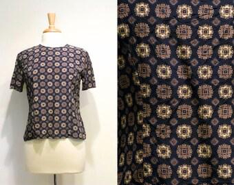 Vintage Navy Blue Print Short Sleeve Silk Top