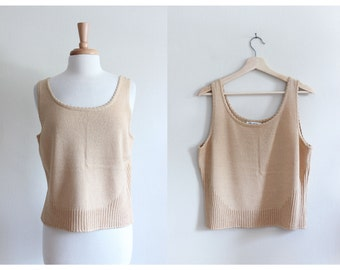 Vintage St. John Tan Gold Knit Tank Top