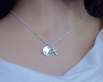 Girl's Dainty Name and Tiny Cross Necklace - Little girl necklace - First Communion, Baptism Gift - Photo NOT actual size