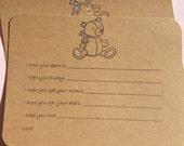 Baby Bear Wish Cards - Baby Advice Cards - Baby Shower Cards - Baby Shower Cards - Kraft Baby Shower Game Cards - Bear Wish Cards BCLWCK