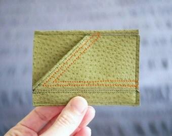 Minimalist Men's Wallet / Card Case | Green Vegan Leather w/ Orange Arrow Stitching