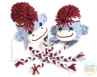 Blue Sock Monkey Handmade Crochet Hat with Red Mohawk READY to SHIP for 6-12 Months