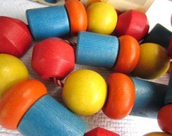 Vintage 1970s Playskool Colorful Wood Beads