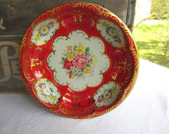 Vintage Red and Gold Floral Daher Tin Bowl