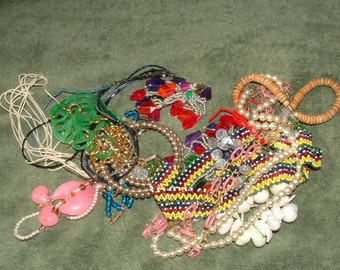 jewelry lot 60s to 80s- vintage  loads of beads  heavy pile cool stuff for redesign