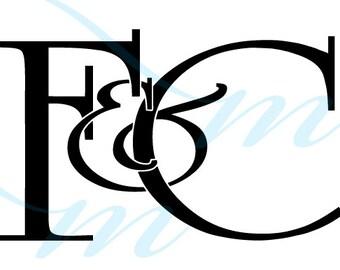 Intertwining Ampersand Monogram - F&C (instant download - JPG, PSD, PDF)
