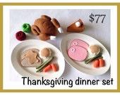 ETSY Pretend food- Play food- Felt food Thanksgiving Dinner set