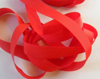 Vintage 1930's-40's Petersham Grosgrain Ribbon -Milliners Stock- 5/8 inch Strawberry Red
