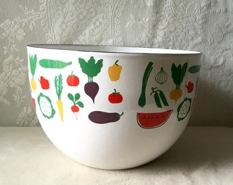 Vintage Arabia Finel Bowl Finland Kaj Franck Enamelware Vegetables