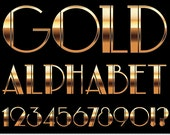 Gold Alphabet Clipart Golden Alphabet Clip Art Wedding Alphabet Clipart Art Deco Clipart Vintage Retro Invitations Scrapbooking Typography