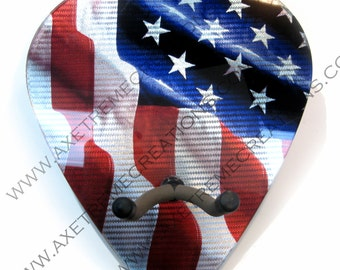 Axetreme Guitar Pick Wall Hanger-String Swing Hanger Included-American Flag/USA Flag Carbon Fiber Look-Music Room Guitar Room Made in USA