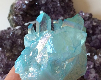 Aqua Aura Quartz Crystal, Gold Fumed Crystal, Gemstone, Mineral, Metaphysical New Age Healing