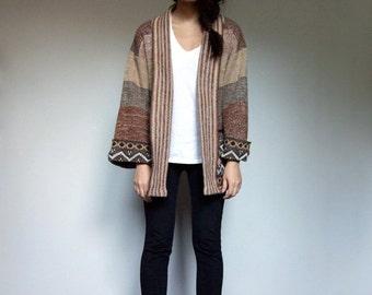 Vintage Knit Cardigan 70s Brown Earth Tone Hippie Boho Striped Fall Winter Sweater Pockets - Medium M