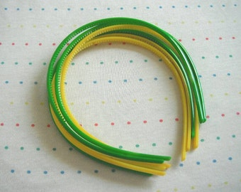 Apple Green and Yellow Skinny Plastic Headbands, Spring Theme, 5 mm Wide (6)