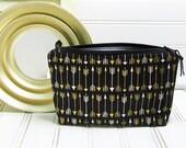 Small Makeup bag - Accessories case small - Black gold white arrows - zipper makeup bag - cosmetics pouch