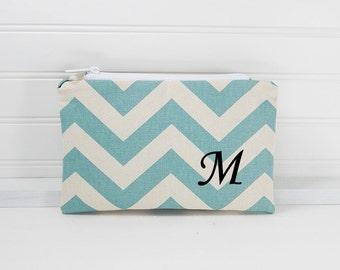 Chevron Clutch, makeup bag, 6x9 Flat zipper pouch, personalized clutch, small clutch, blue chevron bag, bridesmaid gift, flat cosmetic pouch