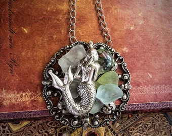 Mermaid and Sea glass Necklace