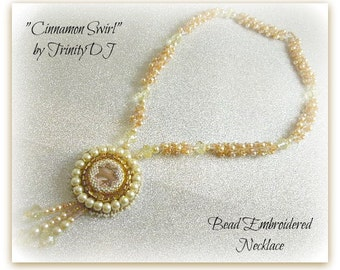 TN-031-2016-136 - Cinnamon Swirl - Bead embroidered necklace, bead embroidery, beaded necklace, beadwork necklace, pearl necklace,