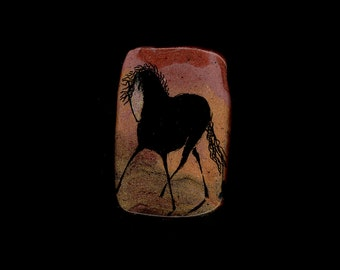 Horse Jewelry: The Wild Black Horse Pin.  India Ink Drawing on Polymer Clay. Mostly Copper and Gold and Black 3991