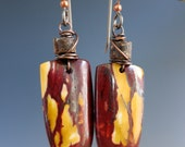 Mookaite Jasper Wirewrapped Earrings, Copper & Natural Stone, One of a Kind Handcrafted Earrings, READY TO SHIP