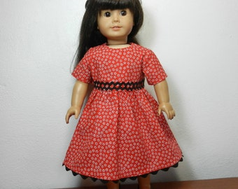 TC Red Calico Dress with Black Rick Rack Trim  - 18 Inch Doll Clothes fits American Girl